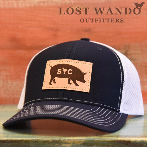 SC Pig Leather Patch Hat Navy - White - Lost Wando Outfitters