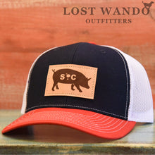 Load image into Gallery viewer, SC Pig Leather Patch Hat Navy - White - Red - Lost Wando Outfitters