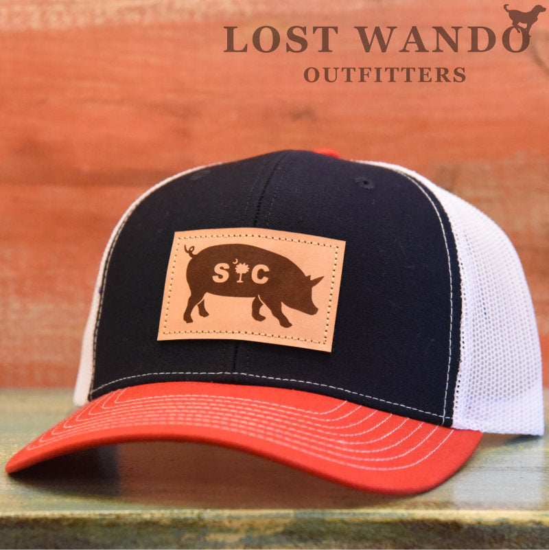 SC Pig Leather Patch Hat Navy - White - Red - Lost Wando Outfitters
