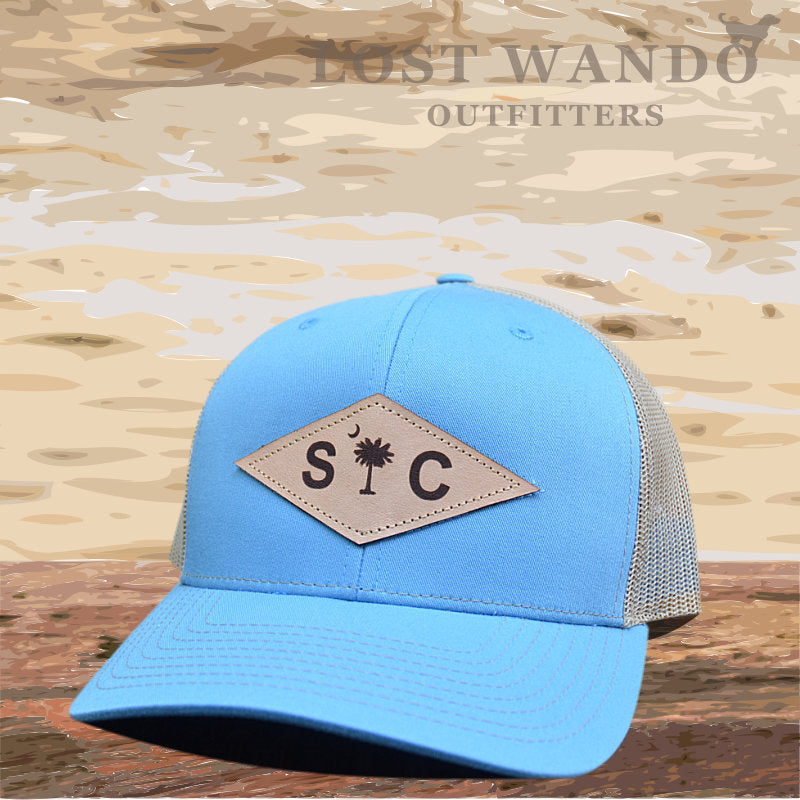 SC Diamond Palmetto-Moon Leather Patch hat Columbia Blue - Khaki - Lost Wando Outfitters