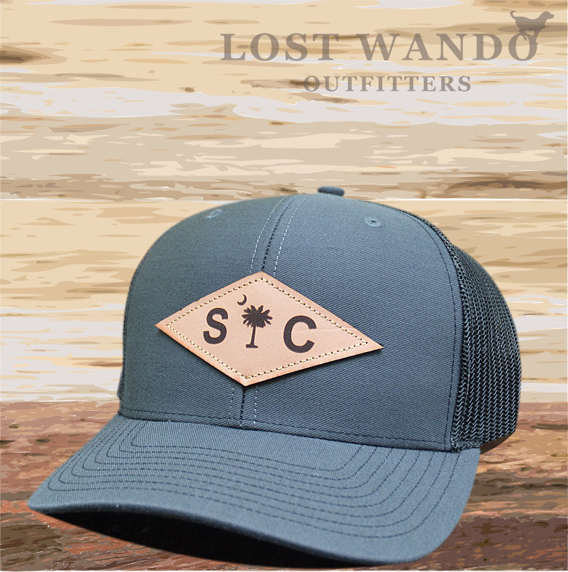 SC Diamond Palmetto-Moon Leather Patch hat Charcoal - Black - Lost Wando Outfitters