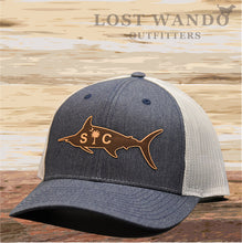 Load image into Gallery viewer, SC Marlin Etched Leather -Navy Heather-Light Grey Lost Wando Outfitters - Lost Wando Outfitters