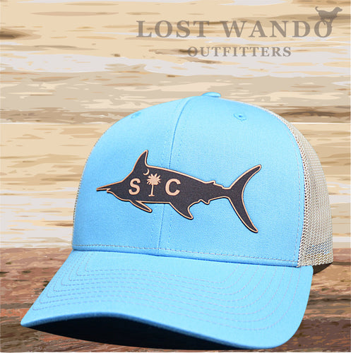 SC Marlin Etched Leather -Columbia Blue - Khaki - Lost Wando Outfitters