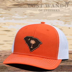SC Etched Leather Outline Hat -Orange-White Lost Wando - Lost Wando Outfitters