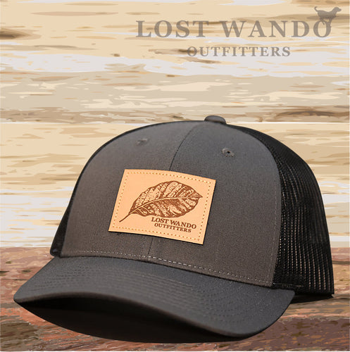 Tobacco Leaf Leather Patch Hat -Charcoal-Black - Lost Wando Outfitters