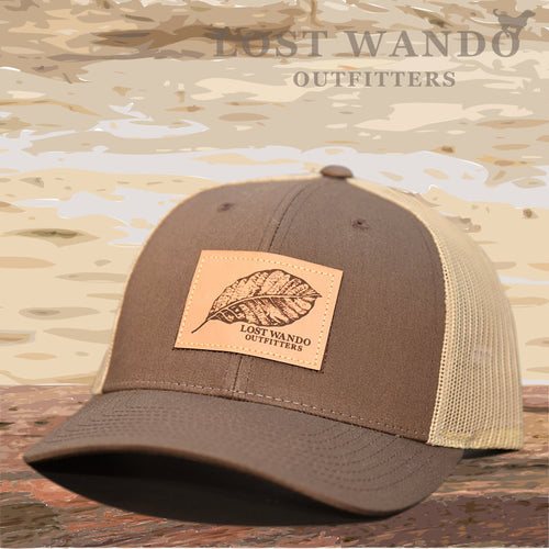 Tobacco Leaf Leather Patch Hat -Brown/Khaki - Lost Wando Outfitters