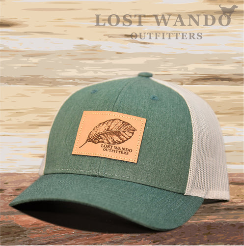 Tobacco Leaf Leather Patch Hat -Heather Green-Light Grey - Lost Wando Outfitters