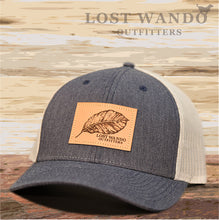 Load image into Gallery viewer, Tobacco Leaf Leather Patch Hat -Heather Navy-Light Grey - Lost Wando Outfitters
