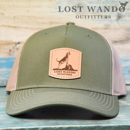Treeing Walker Leather Patch Richardson 112FP Hat Army Olive-Tan Lost Wando Outfitters