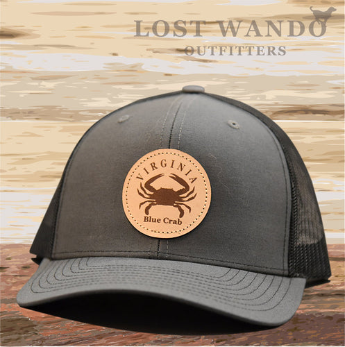 VA Blue Crab Leather Patch Hat- Charcoal-Black Richardson 112 - Lost Wando Outfitters