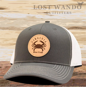 VA Blue Crab Leather Patch Hat- Charcoal-White Richardson 112 - Lost Wando Outfitters