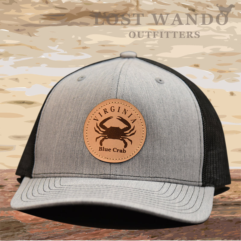 VA Blue Crab Leather Patch Hat- Heather Grey -Black Richardson 112 - Lost Wando Outfitters