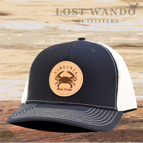 VA Blue Crab Leather Patch Hat- Navy-White Richardson 112 - Lost Wando Outfitters