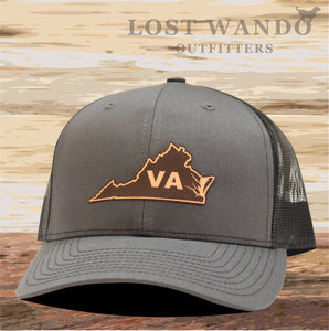 Virginia State Outline Leather Patch Hat- Charcoal-Black Richardson 112 - Lost Wando Outfitters