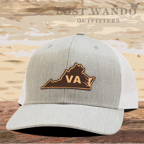 Virginia State Outline Leather Patch Hat- Heather Grey-White Richardson 112 - Lost Wando Outfitters