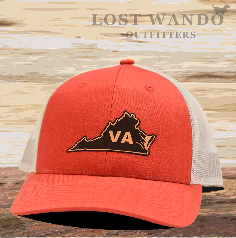 Virginia State Outline Leather Patch Hat- Red Heather- Light Grey Richardson 115 - Lost Wando Outfitters