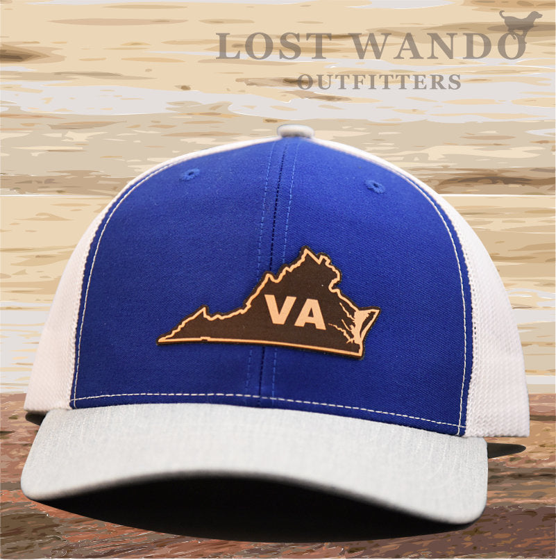 Virginia State Outline Leather Patch Hat-Royal - White- Heather Grey  Richardson 112 - Lost Wando Outfitters