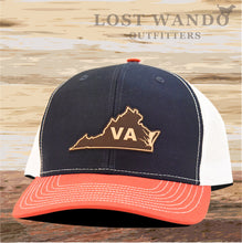 Load image into Gallery viewer, Virginia State Outline Leather Patch Hat-Navy-White-Red Richardson 112 - Lost Wando Outfitters