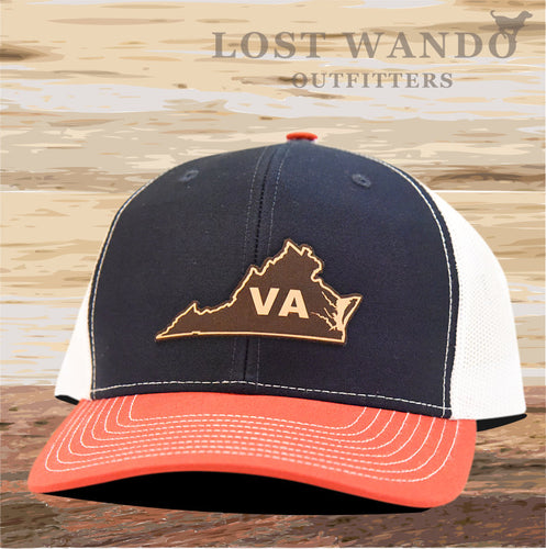 Virginia State Outline Leather Patch Hat-Navy-White-Red Richardson 112 - Lost Wando Outfitters