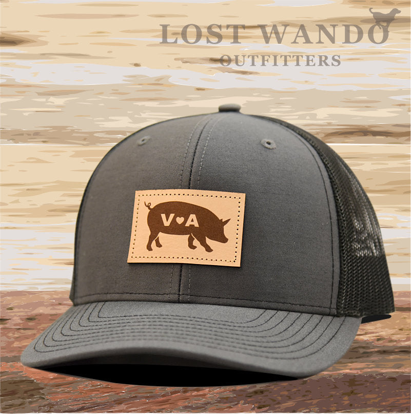 VA Pig Leather Patch Hat- Charcoal - Black Richardson 112 - Lost Wando Outfitters
