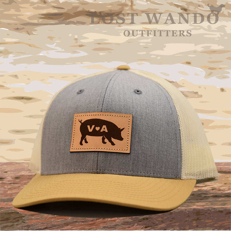VA Pig Leather Patch - Heather Grey- Birch - Amber Gold - Lost Wando Outfitters