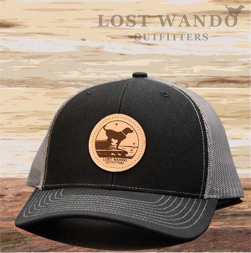 Wando Ready to Go  Black-Charcoal Leather Patch Hat Lost Wando Outfitters - Lost Wando Outfitters