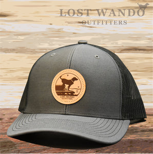 Wando Ready to Go Charcoal-Black Leather Patch Hat Lost Wando Outfitters - Lost Wando Outfitters