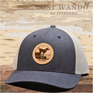 Wando Ready to Go Heather Navy-Light Grey Leather Patch Hat Lost Wando Outfitters - Lost Wando Outfitters
