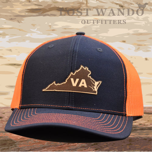 Virginia State Outline Leather Patch Hat- Navy-Orange Richardson 112 - Lost Wando Outfitters