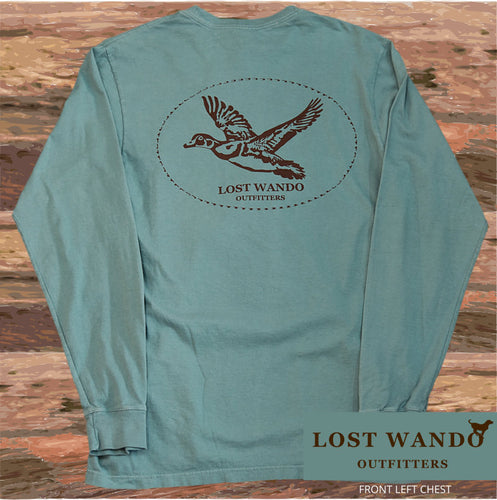 Lost Wando Wood Duck Long Sleeve Pine T-shirt - Lost Wando Outfitters