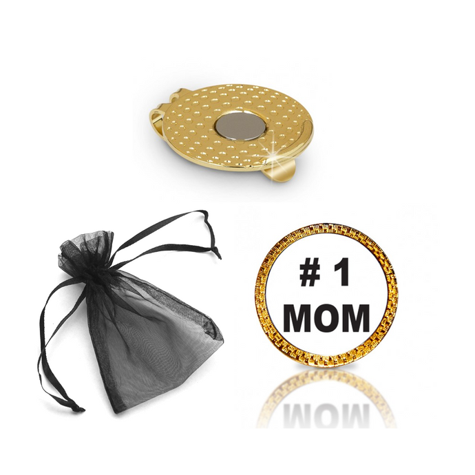 #1 Mom Golf Ball Marker and Hat Clip Gift Set
