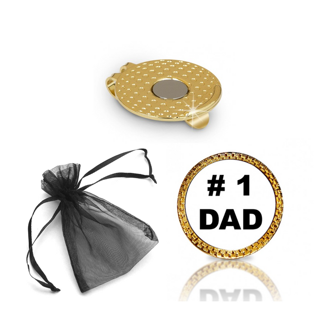#1 Dad Golf Ball Marker and Hat Clip Gift Set