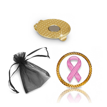 Load image into Gallery viewer, Breast Cancer Ribbon Golf Ball Marker and Hat Clip Gift Set
