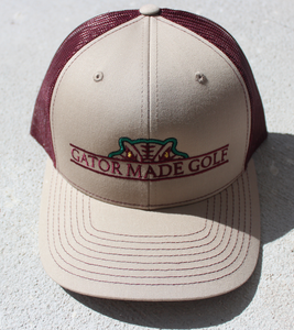 Gator Made Golf Light Khaki-Burgundy Hat