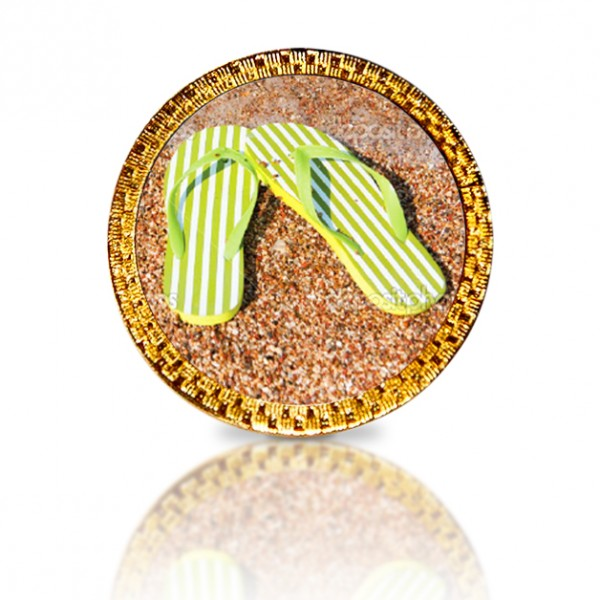 Flip Flops Yellow Golf Ball Marker