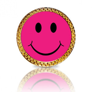 Happy Face Pink Golf Ball Marker