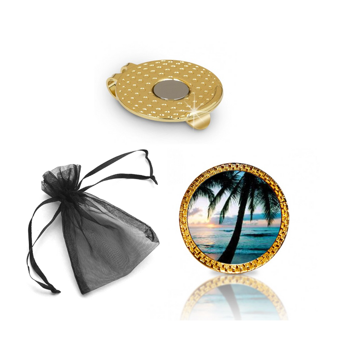 Palm Tree Golf Ball Marker and Hat Clip Gift Set