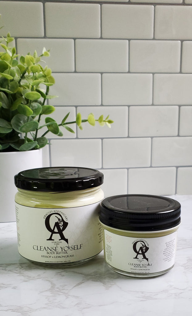 two glass jars of body butter 4 oz and 8 oz