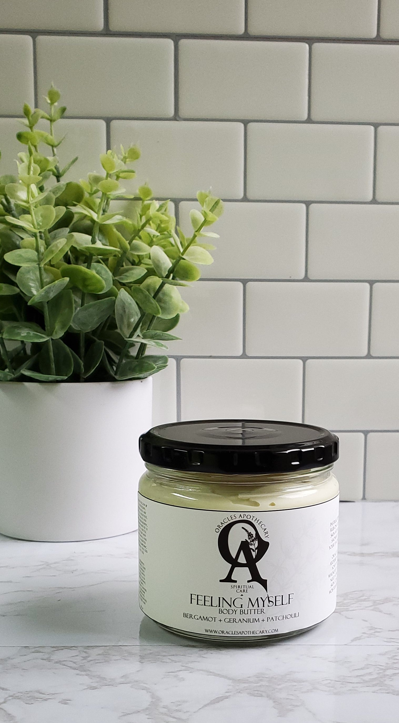 glass 8oz jar of body butter