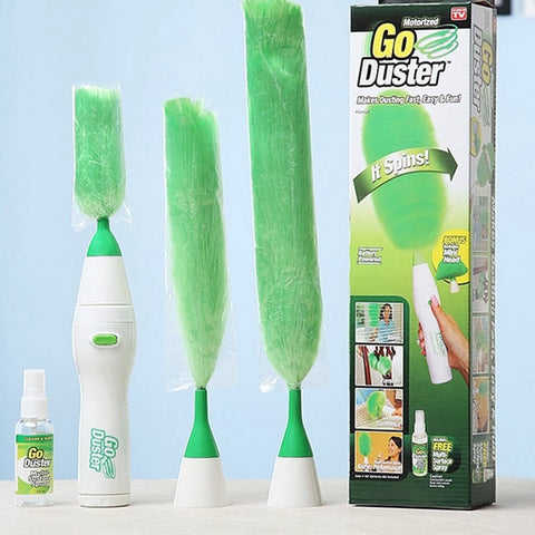 Image of Electric Multifunction Green Feather Duster Dust Brush