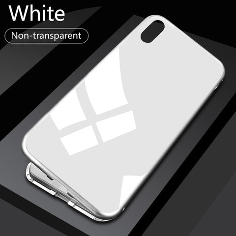 Image of RDCY  Built-in Magnetic Case for iPhone X XR Tempered Glass Magnet Adsorption Case for iPhone 8 7 Plus glass Back Cover bumper