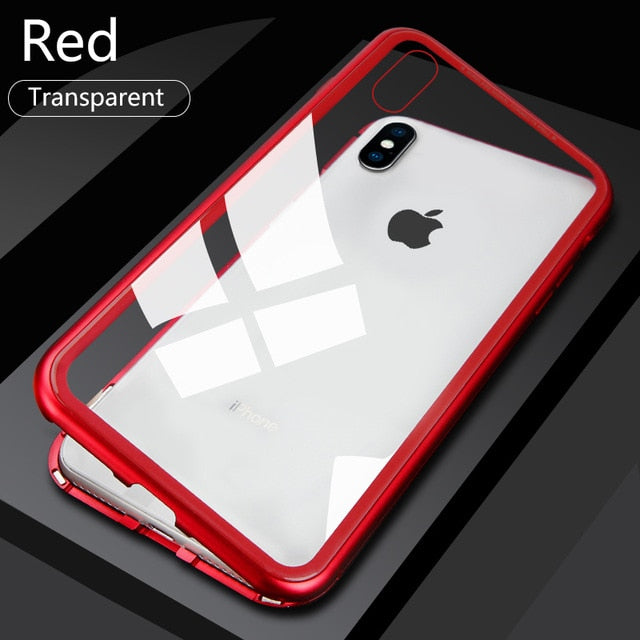 RDCY  Built-in Magnetic Case for iPhone X XR Tempered Glass Magnet Adsorption Case for iPhone 8 7 Plus glass Back Cover bumper