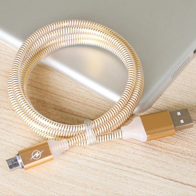 Reinforced 1M Micro USB Cable Type-C Lightening Metal Charger Cable Data Connector(1m,gold)