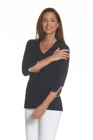 J'envie - V-Knit Tunic in Navy