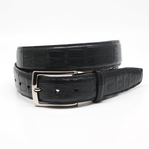 Torino Black Leather South American Caiman Belt