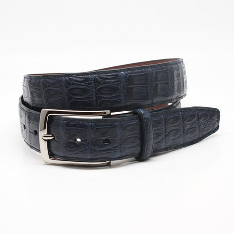 Torino Leather Navy South American Caiman Belt