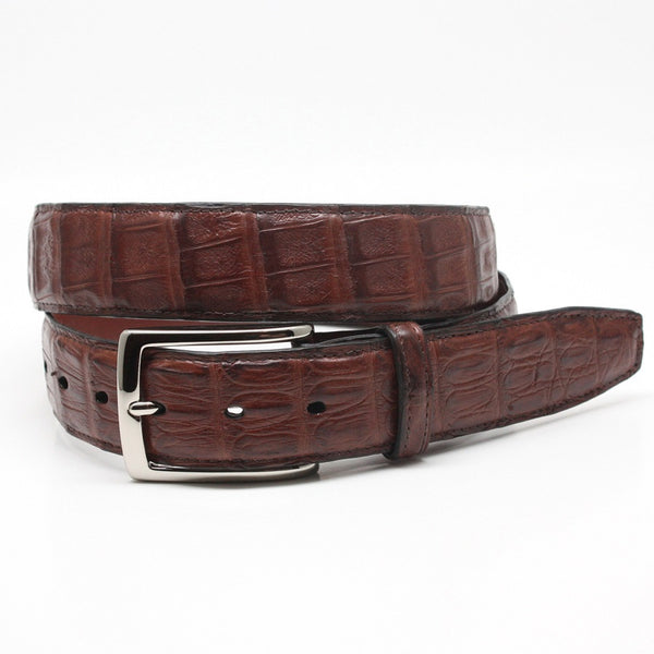 Torino Leather Cognac South American Caiman Belt