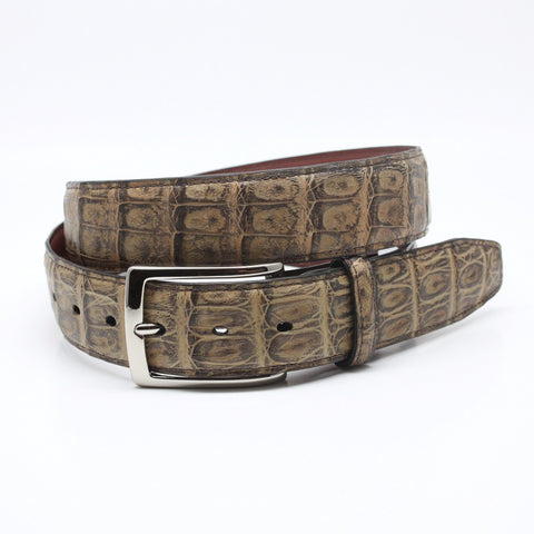 Torino Leather Antiqued Peanut South American Caiman Belt