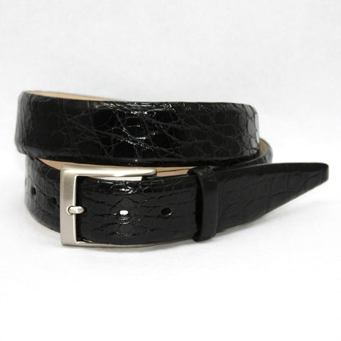 Torino Leather Black Glazed South American Caiman Belt