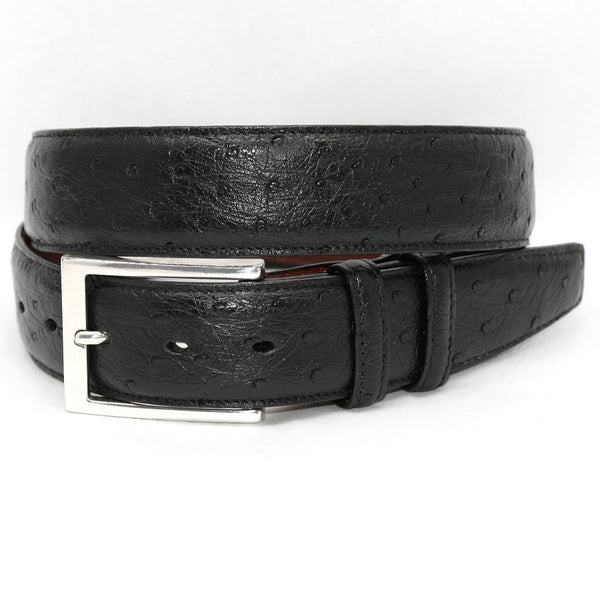 Torino Leather Black Ostrich Belt